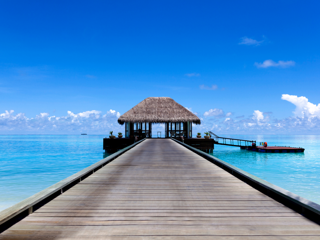 The arrival jetty of the Niyama Resort.