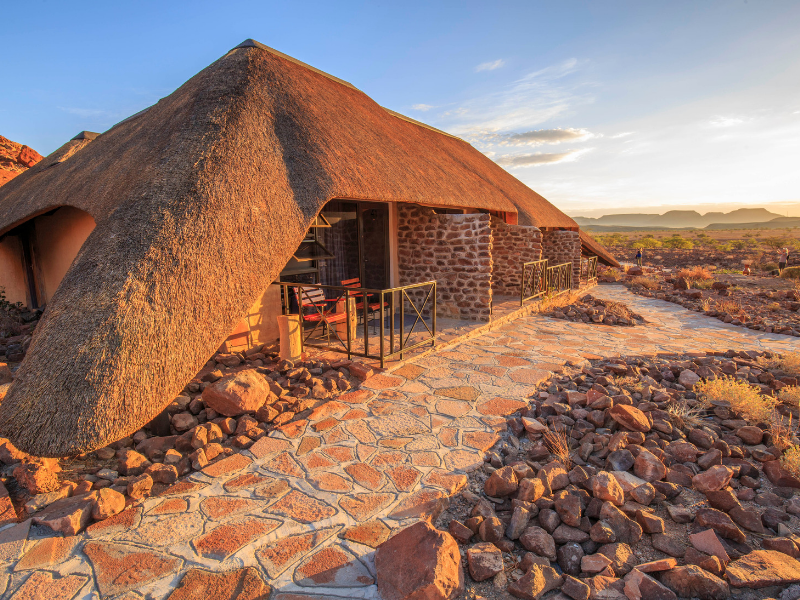 Check in to Twyfelfontein COuntry Lodge Damaraland