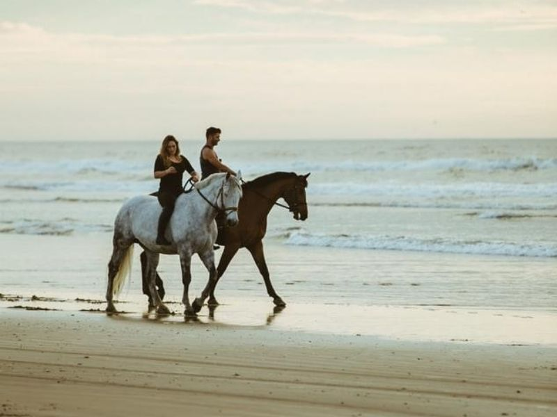 Horse riding by the ocean, Mexico