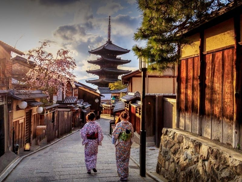 Women walking in Kyoto, Japan