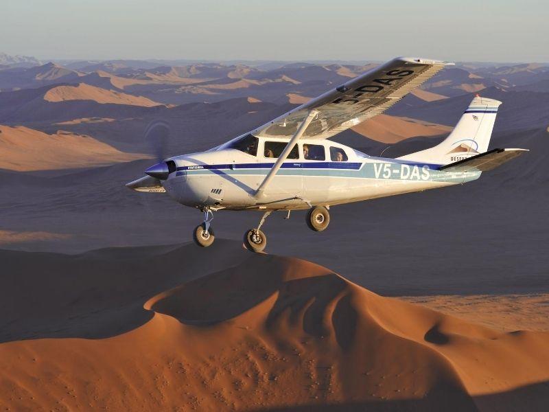 Plane over Sossusvlei dunes