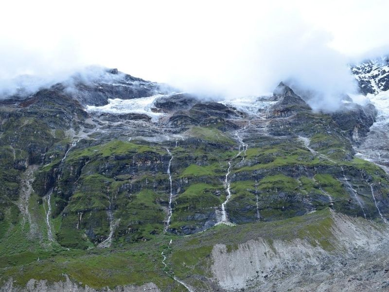 Bhutan mountains with waterfalls