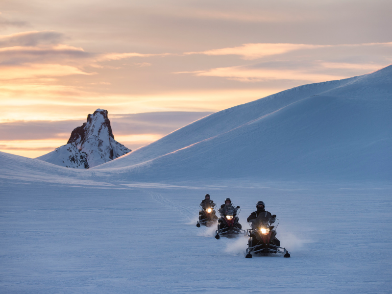 Snowmobile on a glacier Iceland