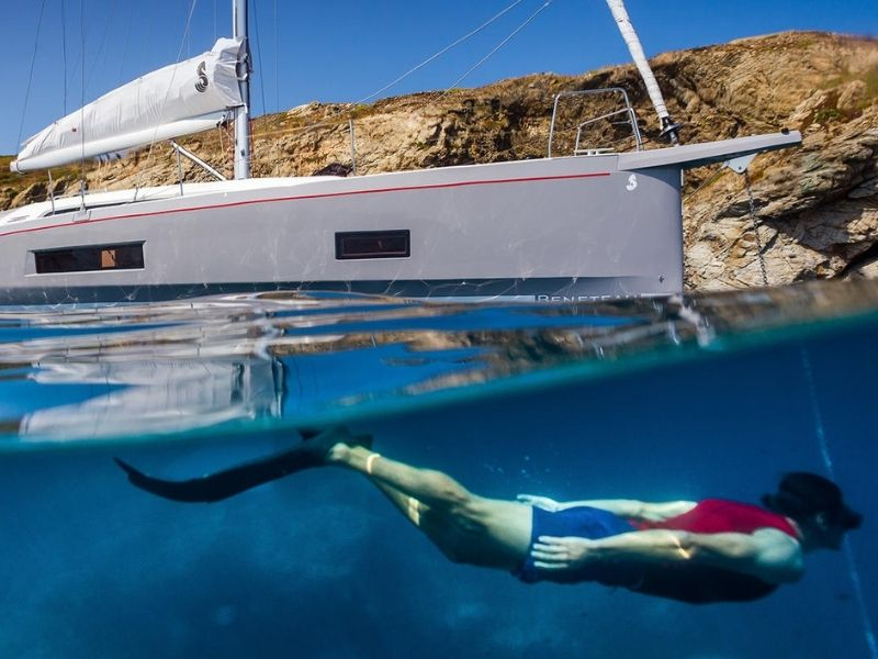 Take a dip, Oceanis 46.1, yacht