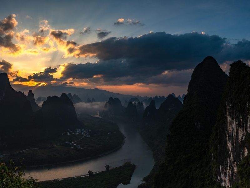 Guangxi sunset, China