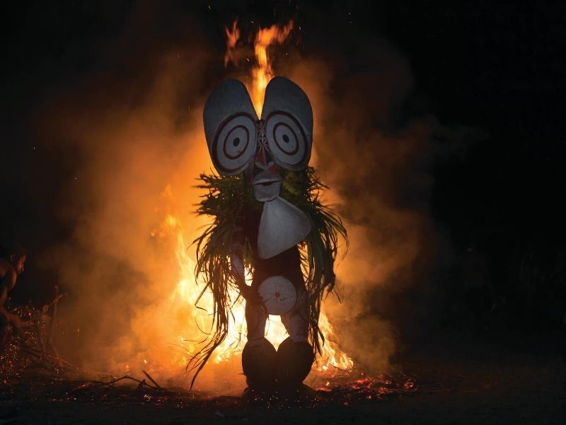 Tribal ceremony with fire